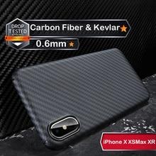 Funda protectora para iPhone X, XS, XR, XSMAX, fibra de carbono 3D auténtica, 0,6mm, Thiness, Slim, cámara deportiva