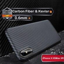 Luksusowe prawdziwe 3D z włókna węglowego Kevlar 0.6mm Thiness Slim Sport Camera obiektyw Protectiove skrzynki pokrywa dla iPhone X XS XR XSMAX