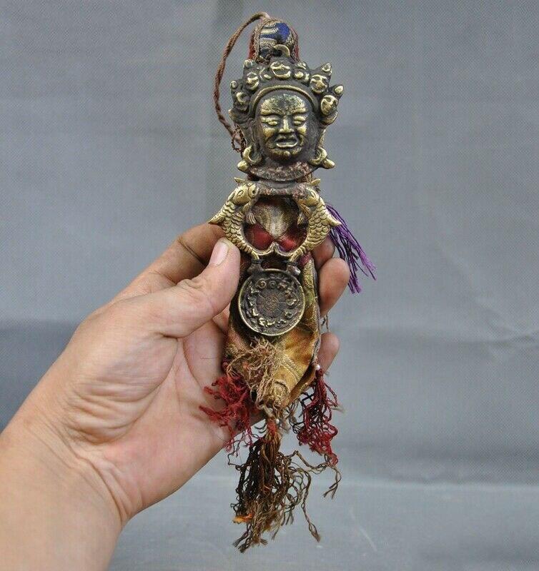 "wedding decoration 8""Tibet Bronze Silk cloth Mahakala Buddha Head Fish Zodiac Animal Amulet Pendant|Statues & Sculptures| |  - title="