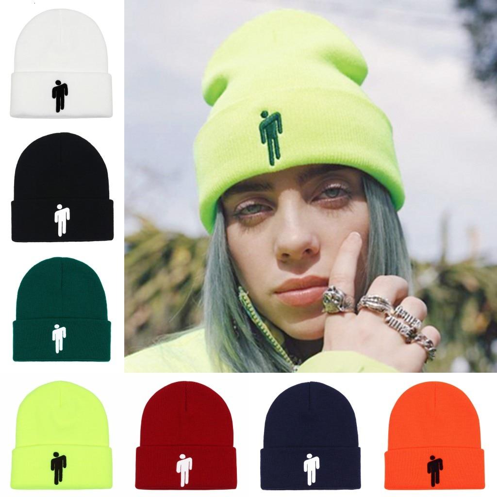femmes-broderie-bonnet-billie-eilish-merch-sujet-chaud-logo-bonnet-tricot-chapeau-extensible-casquette-solide-hip-hop-decontracte-a-revers-bonnets