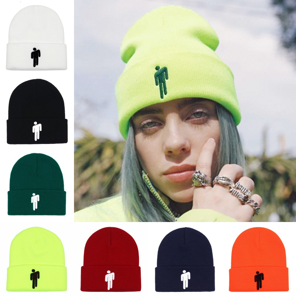 Women Embroidery Bonnet Billie Eilish Merch Hot Topic Logo Beanie Knit Hat Stretchy Cap Solid Hip-hop Casual Cuffed Beanies