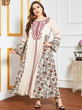 Siskakia etnik işlemeli Patchwork Maxi elbise gevşek artı boyutu O boyun tam kollu müslüman arap kadınlar için giyim sonbahar 2020