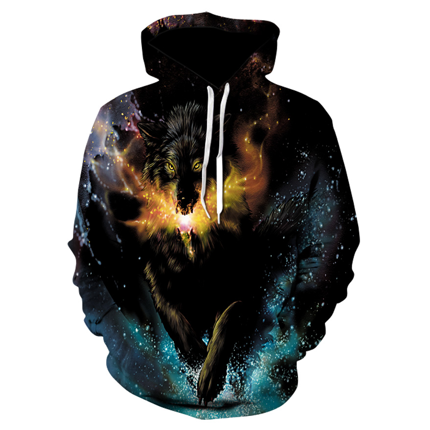 2020 Men's And Women's Casual Round-neck Hooded Sweatshirts Fashion 3D Animal Spitfire Wolf Sports Hoodies