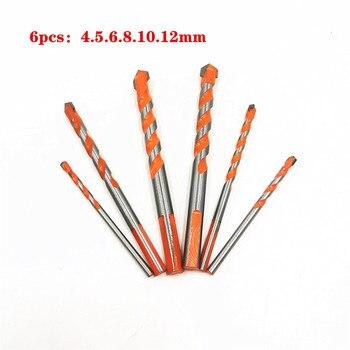 6 Pcs Twist Triangle Drill Bit Head Wall Ceramic Glass Punching Hole Woodworker Drill Set