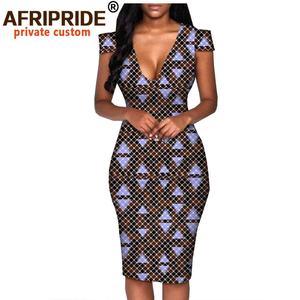 Image 5 - African summer dress for women AFRIPRIDE tailor made short sleeve knee length casual women pencil dress 100% cotton A1825074