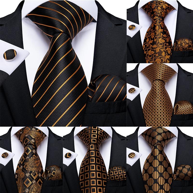 Fashion Men Tie Luxury Gold Blue Black Striped Paisley Silk Wedding Tie For Men DiBanGu Designer Hanky Cufflinks Gift Tie Set