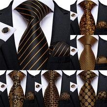 Moda męska krawat luksusowe złoto niebieskie czarne paski Paisley jedwabny krawat ślubny dla mężczyzn DiBanGu projektant Hanky spinki prezent do zawiązania zestaw