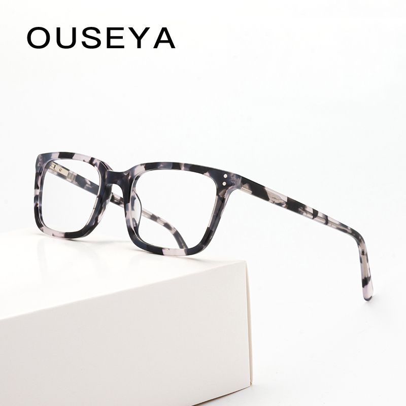 Acetate Women's Glasses Frame Men's Transparent Eyeglasses Optical Myopia Fashion Spectacle Frame Glasses Without Degree #17419