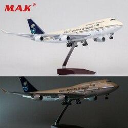 1/150 Resin Saudi Arabia Airplane Model Boeing B747-400 47cm LED Light Passanger Plane W Light and Wheels Diecast Plastic Plane
