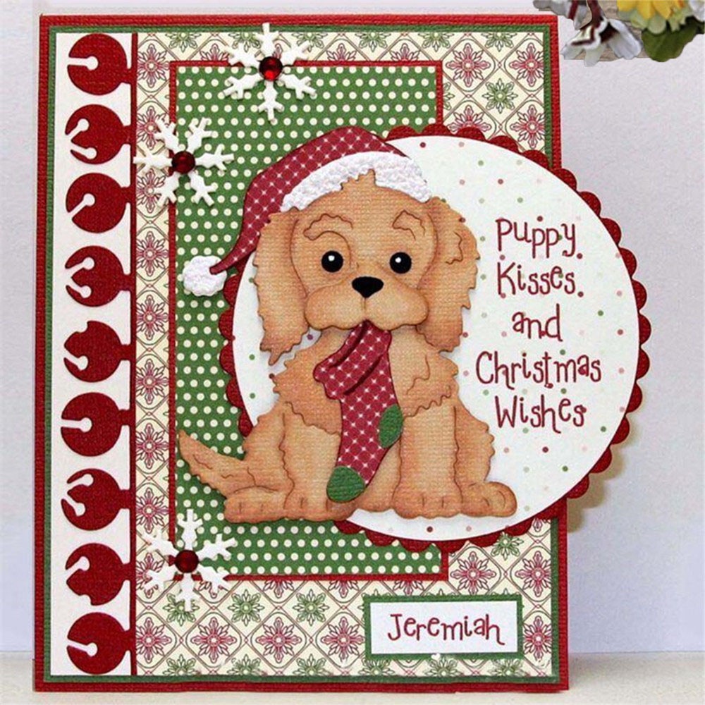 Christmas Dog Metal Cutting Dies Stencil Scrapbook Card Embossing Craft Gift 2