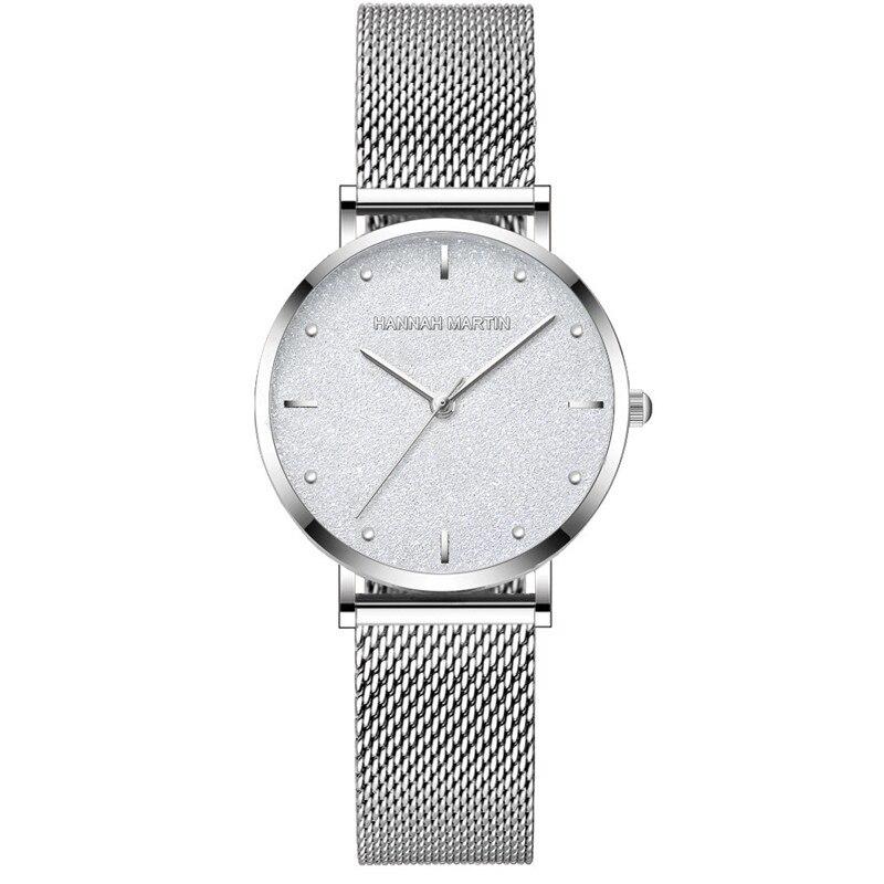 Hanna Martin Silver Watch Steel Mesh Band Ladies Watches Luxury Brand Quartz Wristwatches Fashion Bracelet Female Clock Gift