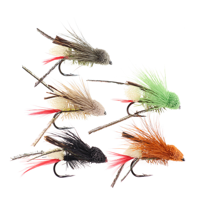 Portable Fly Trout Fishing Lures Insect Crank Bionic Bait Treble feather Hooks