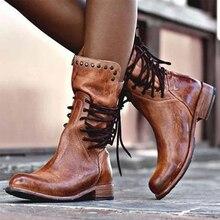 2020 Mới Mùa Đông Giày Nữ Retro Giày Da Bò Vintage Đinh Tán Mũi Tròn Cột Dây Giữa Bắp Chân Martin giày Zapatos Plus Kích Thước