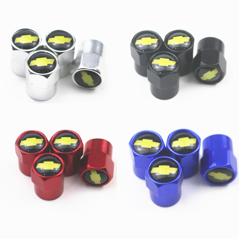 New 4PCS Auto Wheel Tire Valve Stem Caps Cover For Chevrolet Colorado Cruze Spark Captiva Malibu Trax Aveo Car Accessories