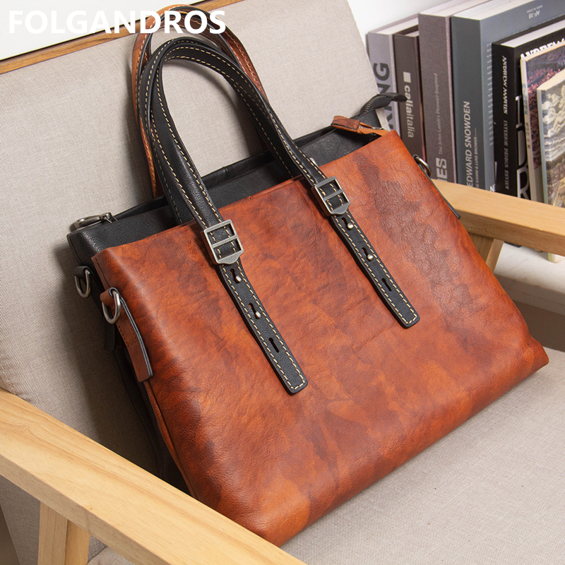 2020 Designer Brand High Quality Genuine Leather Briefcases Men's Vintage Soft Cow Leather Office Business Document Briefcase