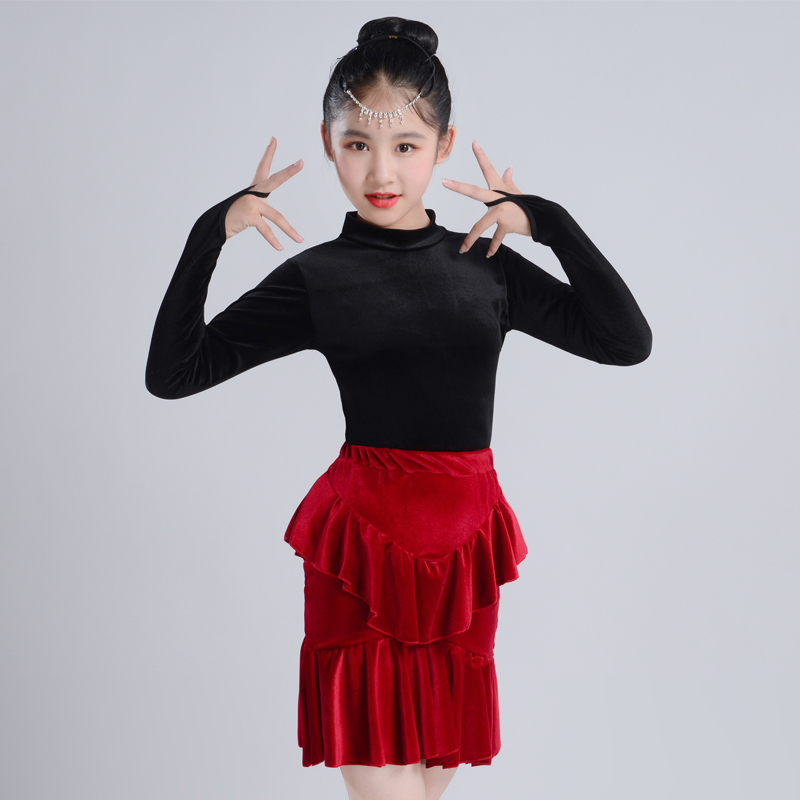 Latin Dance Costume Children'S Performance Clothes Tops+Skirt Practice Autumn Winter Long Sleeve Performance Split Suit BL2650