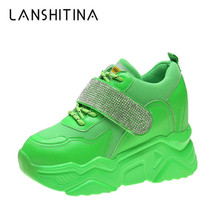 2019 Autumn Sneakers Women Breathable Mesh Casual Trainers White Shoes 9CM Heels Wedge Chunky Woman Rhinestone Bling