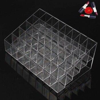 Pantalla de maquillaje transparente trapezoidal 40 celosías soporte de lápiz labial estuche soporte organizador de cosméticos caja de gran oferta ZQ678406