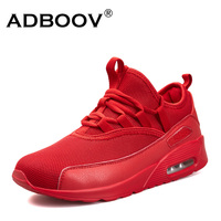 ADBOOV Fashion Men Women Sneakers Red Mesh Fabric Upper Breathable High Top Unisex Shoes Comfort PU Sole Running Shoes