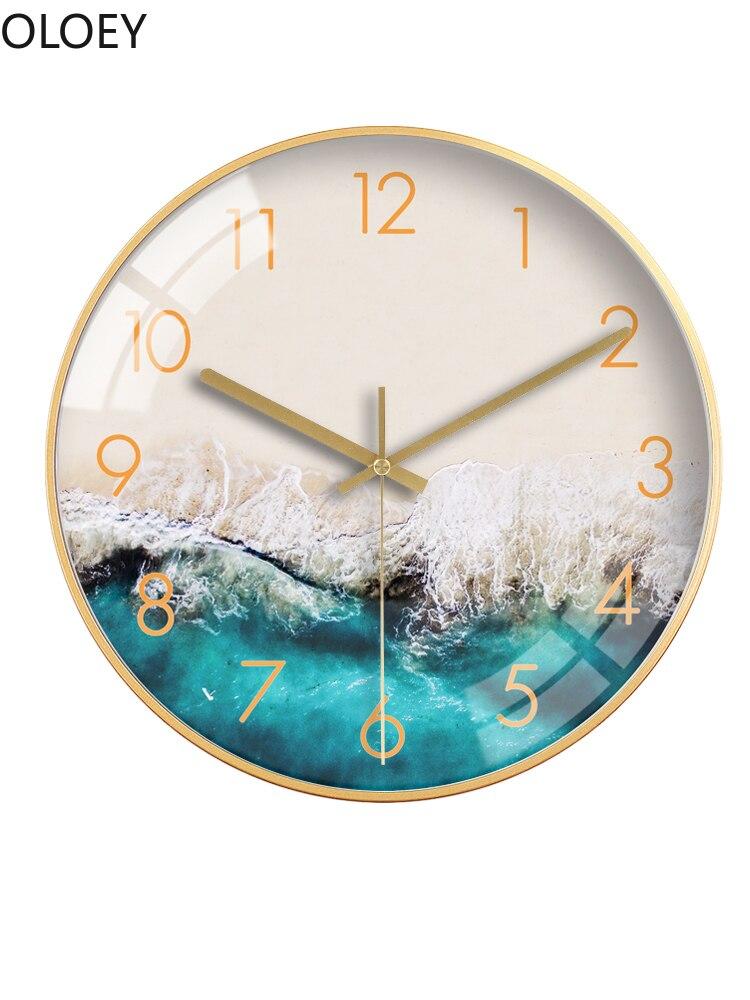 Blue Modern Design Wall Clocks Living Room Silent Bedroom Luxury Large Wall Clock Simple Kitchen Clock Reloj De Pared Wall Watch