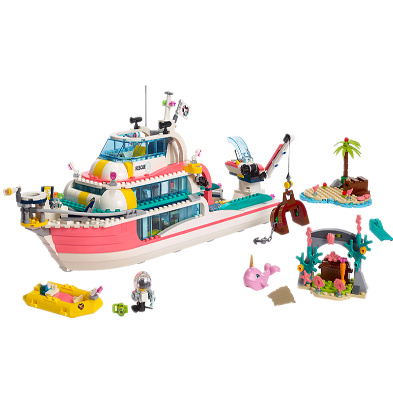 01044 Lepining Girl Friends Dolphin Cruiser Rescue Center Large Yacht Club Cruise Vessel Ship 41381 Building Blocks Brick Toys