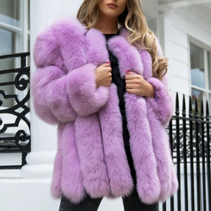 Image 5 - BFFUR Outerwear Womens Real Fur Coat 2020 Genuine Leather Natural Jacket Ladies Tops Fashion Medium Winter Coat Whole Skin Solid