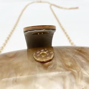 Image 5 - Gnirue מותג אופנה ארנק נשים אקריליק חמוד ארוך עגול ערב תיק אישה שיש מוצק יוקרה מסיבת נשף תיק מזדמן מצמד