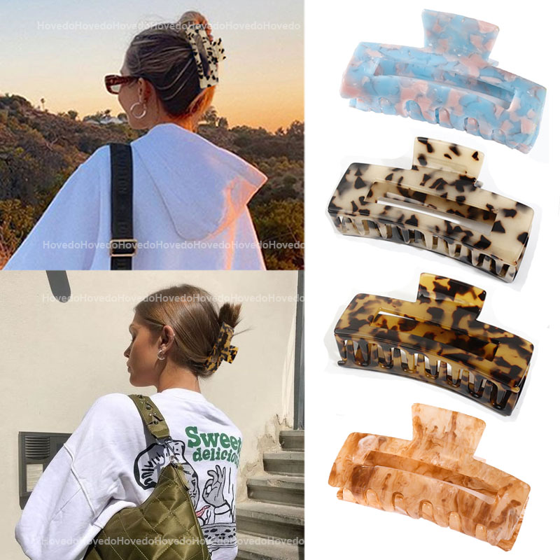 Crabs-Clip Hair-Clamps Acetate Square Geometric Leopard Large High-Quality Women