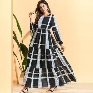 Long Sleeve Printed Abaya Muslim Dress Arab Abayas Patchwork A Line Pleated Maxi Dresses for Women Robe Femme Black M - 4XL