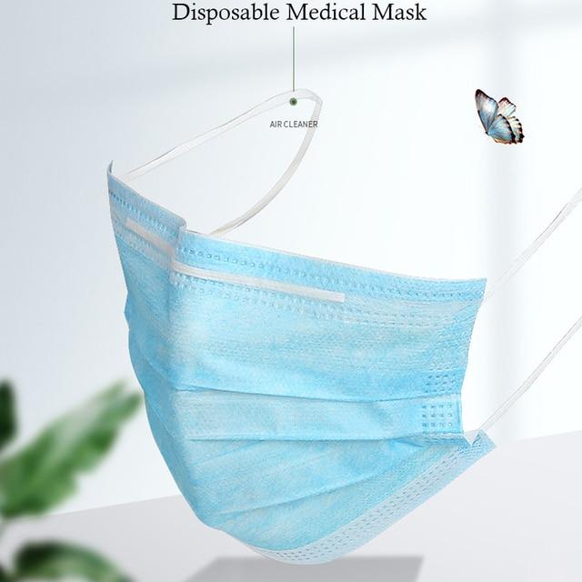50/100pcs Disposable Mask Adult Prevent Flu Infection 3-layer Filter Mask Protection Antibacterial Antivirus Hospital Masks 1
