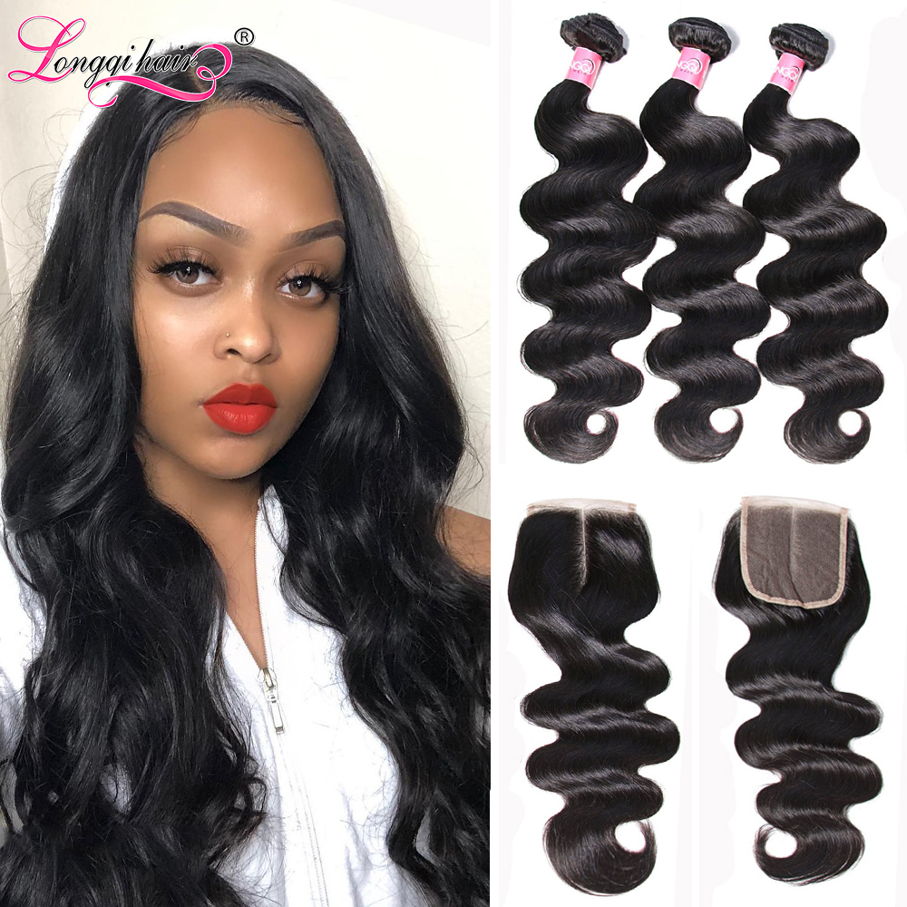 Longqi Body Wave Bundles With Closure Malaysian Hair 3 Bundles With Closure Remy Human Hair Bundles With Closure 4PCS Lot