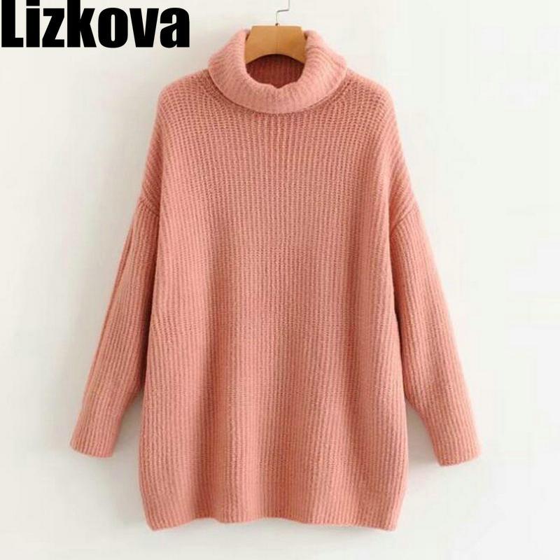 2019 Women Oversize Sweater Pink Turtleneck Knitted Pullover Sweater Warm Loose Sweater Korean Fashion Women Knitwear