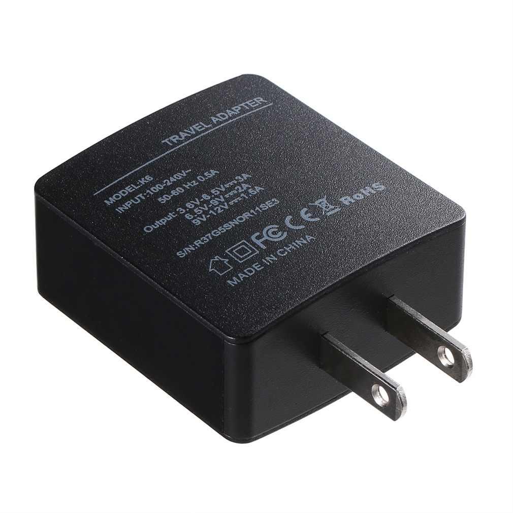 K6 czarny stwardnienie wbudowany zabezpieczeń USB ładowarka ścienna, podróżna adapter szybkiego ładowania US/UK wtyczka do smartfona