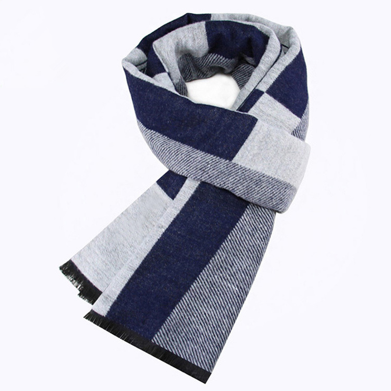 Plaid Scarf Festival Wedding-Gift Imitation-Cashmere Male Winter New Warm Holiday Young