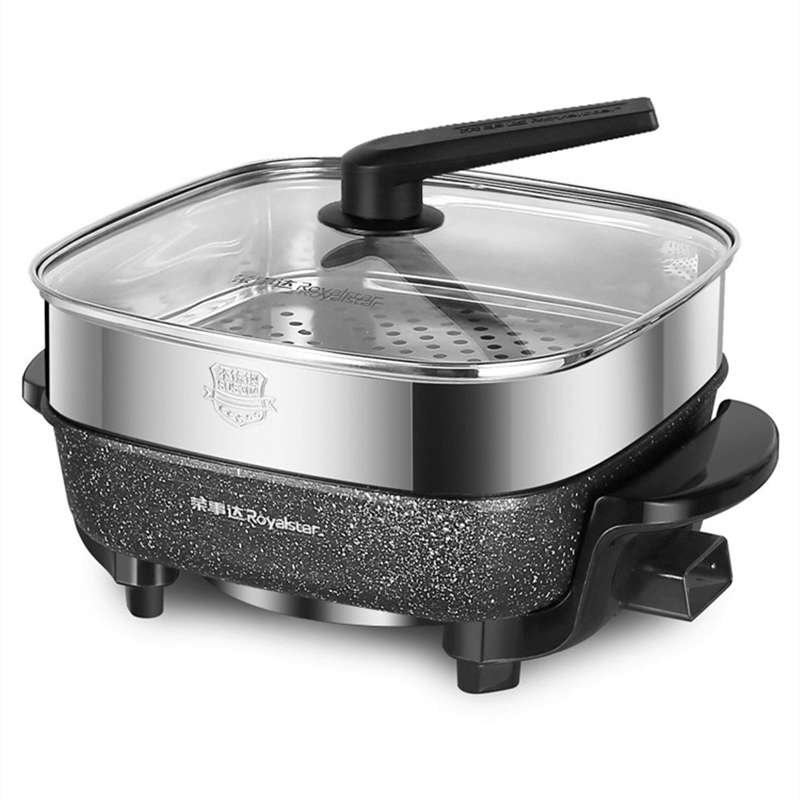 Dual Use Pot 1600W 220V Electric Pan Hot Pot BBQ Frying Cook Grill Kitchen Tool