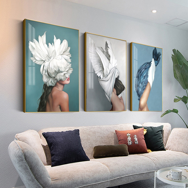 H2f7447d122f54dd39bebd07c631f709cj Modern Nordic Black And White Canvas Painting Art Print Wall Poster Abstract Girl Wall Pictures Wall Art for Bedroom Living Room
