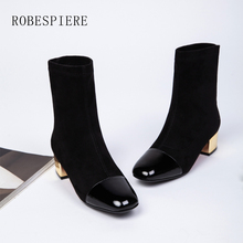 цена на ROBESPIERE Genuine Leather Ankle Boots Gold Med Heel Women's Shoes Quality Patent Leather Square Toe Winter Warm Lady Boots B11