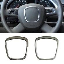 ABS steering wheel trim cover center emblem sticker logo ring  frame accessories for Audi A4 B8 B6 B7 A3 8P S3 A6 C6  Q7 Q5 A5