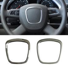 ABS Руль Накладка эмблема в центре стикером лого, ободковый корпус, аксессуары для Audi A4 B8 B6 B7 A3 8P S3 A6 C6 Q7 Q5 A5