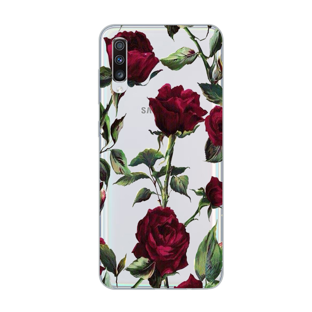 Image 3 - ciciber Phone Case for Samsung Galaxy A50 A70 A80 A40 A30 A20 A60 A10 A20e Soft Silicone TPU Flower Rose Vintage Cover Fundas-in Fitted Cases from Cellphones & Telecommunications