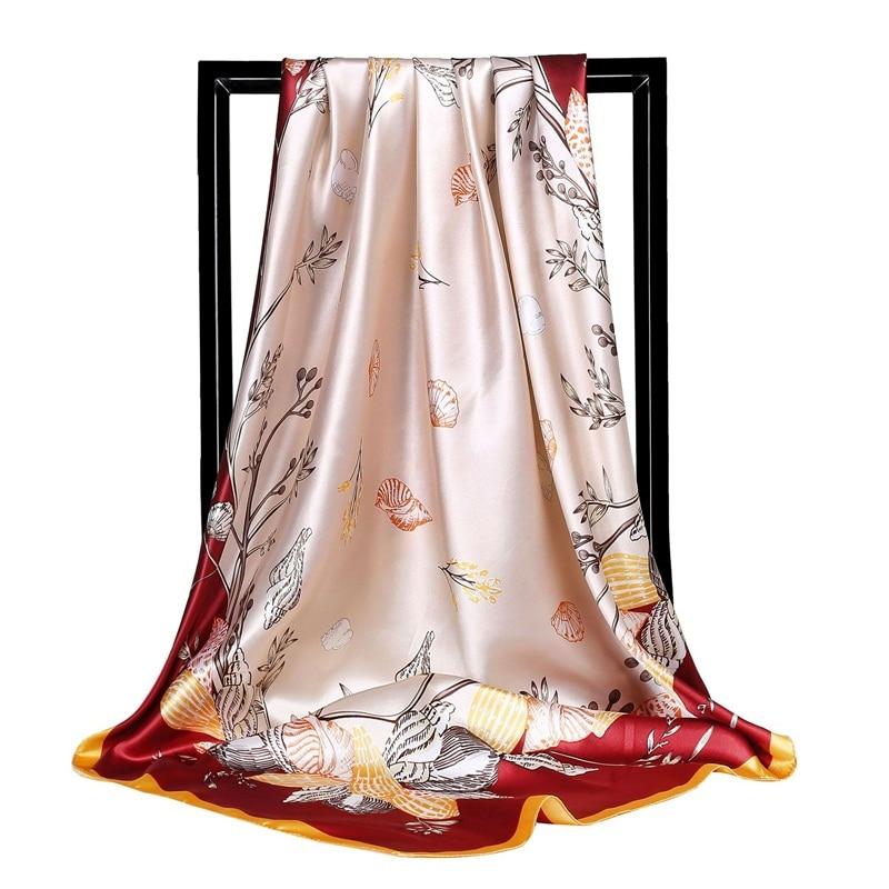 Printed Silk Scarves Women 90*90cm Square Plant Flowers Head Hijab Scarf Ladies Spring Shawl Wrap Muffler Pareo Bandanna Female