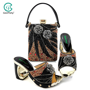 Image 3 - 2020 Elegant Women Shoes and Bag to Match in Royal blue Color Italian design Lady Shoes and Bag  with Rhinestone for Wedding