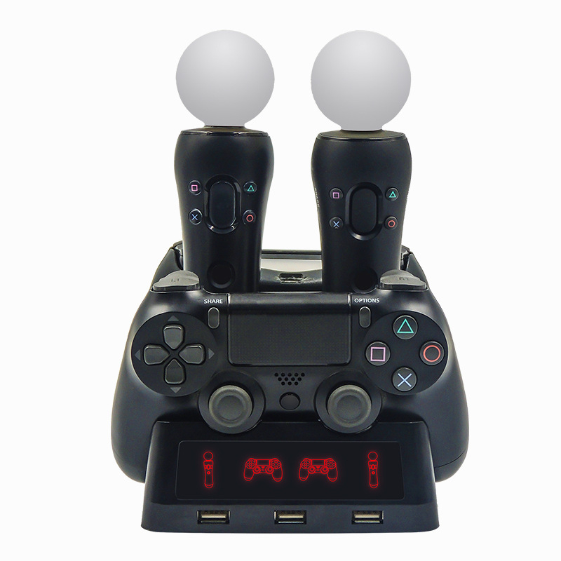 4 em Controlador de Estação de Carregamento Base Dock para Playstation PS4 PSVR 1 VR Mover Quad Charger para o Controlador de MOVIMENTO PlayStation