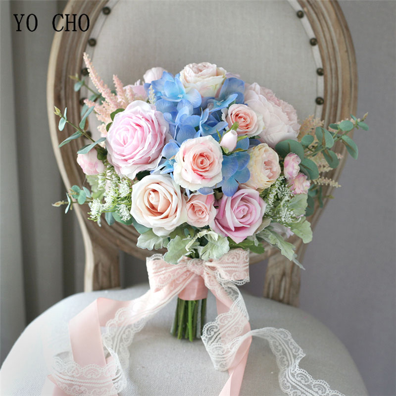 YO CHO Bride Wedding Bouquet Handmade Artificial Silk Rose Hydrangea Flower Pink Blue Luxurious Bouquets Wedding Supplies