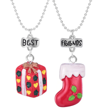 2 pcs Christmas Stocking & Christmas Gift Box Pendant Necklaces Wish Children Accessories Friendship  Jewelry Gift the christmas wish