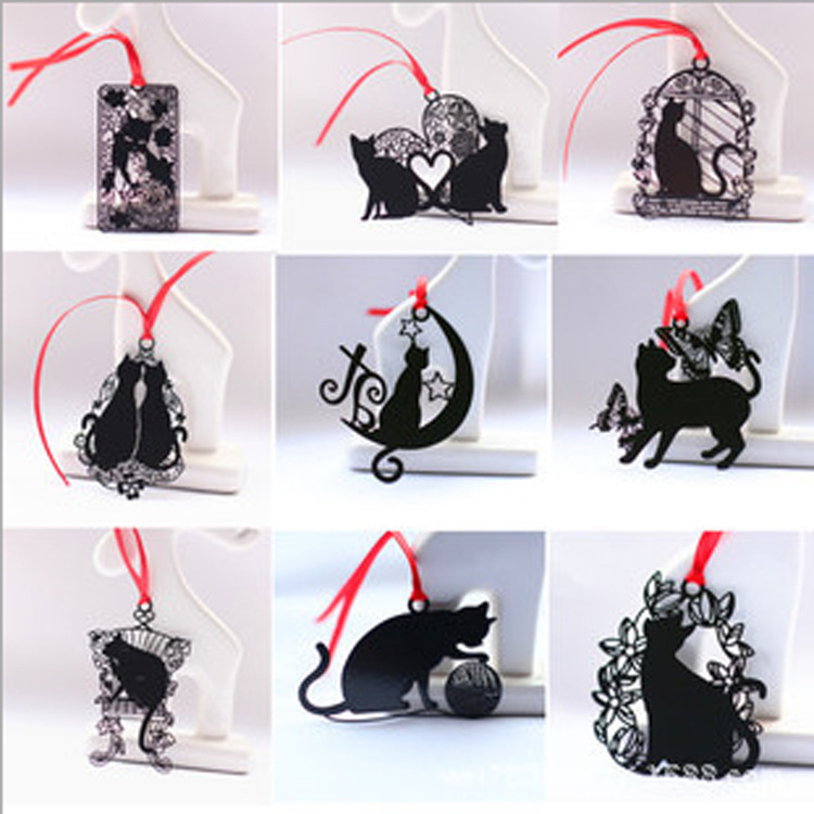 9 Pcs Black Cat Series  Black Baking Paint Stainless Steel Metal Bookmark Creative Chinese Style Student Gift