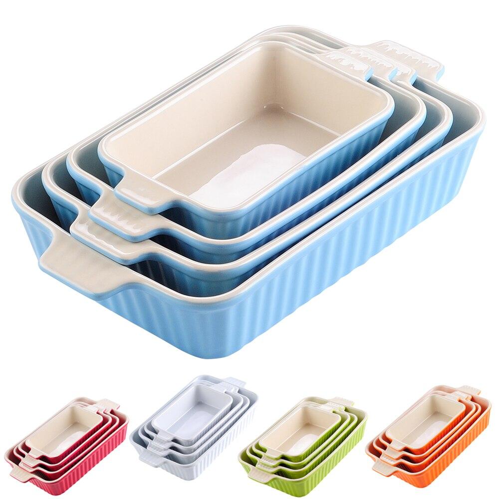 """Malacasa 4 peças mesa assadeira prato conjunto com cerâmica lidar com forno para ideal para lasanha/torta/caçarola/tapas (9 """"/11""""/12 """"/13.3"""")"""
