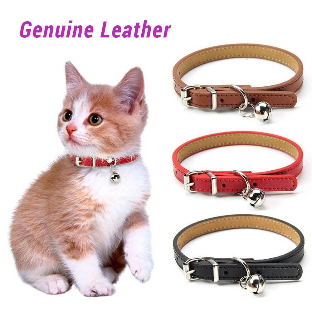 Мягкий воротник для кошек из натуральной кожи с колокольчиком, регулируемый ремешок на шею для щенка, для ожерелье с котенком, кошка, размер...