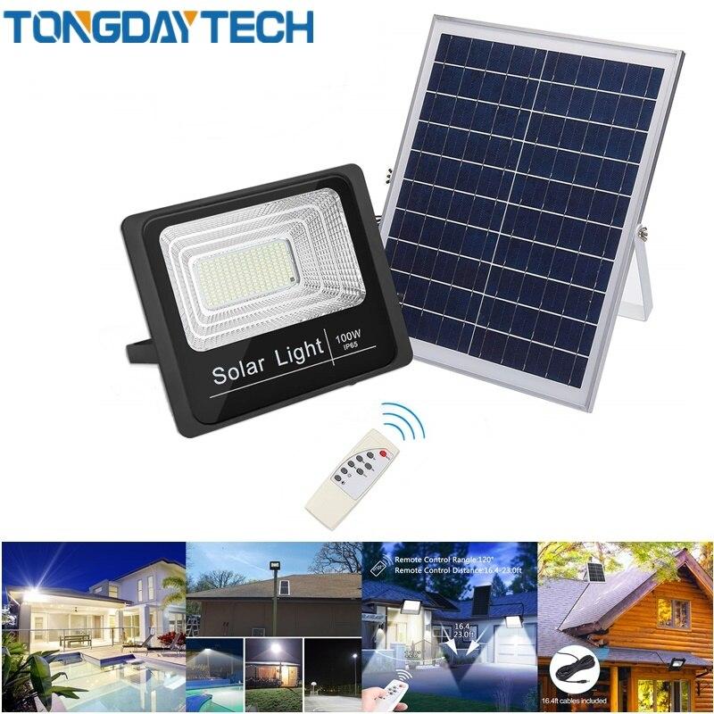 Tongdaytech movimento de luz solar detectado projector led 25 w 40 60 100 lâmpada solar ip66 ao ar livre para a rua da garagem do parque