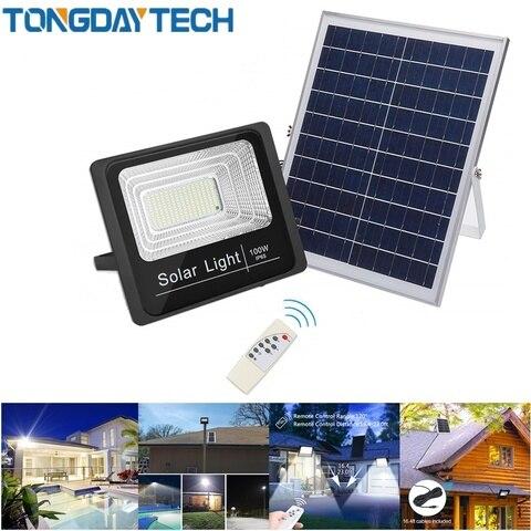 tongdaytech movimento de luz solar detectado projector led 25 w 40 60 100 lampada solar